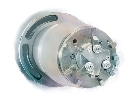 Beispiel für die Kombination von Spannprinzipien: Planspannfutter mit integriertem Segementspanndorn zum Zentrieren